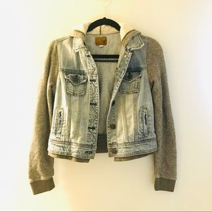 American Eagle Hoodie Sweatshirt Denim Jacket